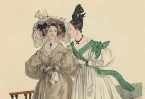 Mamselli Linda Melin ja neiti Cecilia Waldau. Nuorten neitien kampaukset olivat monimutkaisia taideteoksia.