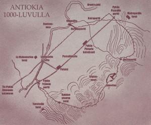 """Antiokia oli karavaanireittien päätepiste, mahtavampi ja kukoistavampi kuin Jerusalem. Sinne Geir ja Constanzia saapuivat Simeon Pylväspyhimyksen kirkosta tehtyään sydäntä särkevän ratkaisun elämässään. Nälkään nääntyvät ristiritarit voittivat suuressa taistelussa arabiemiirikuntien armeijan. Uupumuksesta halvaantuneet miehet autettiin Antiokian Pyhän Pietarin katedraaliin, joka näkyy kartan keskellä. """"Varmasta kuolemasta meidät pelastit, oi Herra, Geir kuiski yksitoikkoista rukousta. Jerusalem. Jerusalem. Parempaan hän ei pystynyt. Hänen ympärillään kohosi Mooseksen kiitosvirsi kohti nokimustaa kattoa. Ihmiset veisasivat karhein äänin, kiitollisuudesta ja väsymyksestä värisevin kasvoin aavistamatta, että tämä oli Via Dein viimeinen yhteinen hetki."""""""
