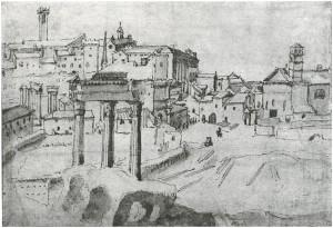 Furnien torni, jossa Constanzia eli Ferro Furnin vaimona, sijaitsi Abitatossa, Rooman asutulla alueella lähellä muinaista Forum Romanumia eli kaupungin keskusaukiota. Kuvassa näkymä Forumilta, joka on maatunut kujiksi ja laitumiksi. Takana Capitolinon kukkula.