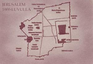 Kartan keskellä näkyy Jerusalemin ikivanha suuri cardo, pohjois-eteläsuuntainen katu, joka kuului roomalaiseen kaupunkisuunnitteluun. Väylä johti etelästä Sionin portilta pohjoiseen Damaskoksen portille. Pohjoisessa kadun nimi oli Pyhän Stefanoksen katu protomarttyyrin mukaan. Cardon keskellä taas oli Malcuissinat, josta pyhiinvaeltajat ostivat ruokaa, ja jolla Aldegunda käyskenteli tyytyväisenä, kunnes Ivar palasi Askalonin taistelusta ja paljasti tietävänsä kaiken.