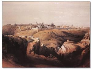 Jerusalem nähtynä Öljymäeltä. Jo Mikael Agricola käyttää kummallista nimeä Öljymäki, joka tarkoittaa oikeastaan oliivipuita kasvavaa mäkeä: Oliivivuori. Kuvassa näkyy Kalliomoskeija. Sen ristiretkeläiset vihkivät kirkoksi ja nimittivät Temppeliksi, mistä johtuu temppeliherrojen munkkiritarikunnan nimi.