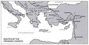 Italian normanniarmeija, jonka mukana kulkivat Sinetran ja Bergan ritarit, lähti suurelle toivioretkelle Brindisistä ja vaelsi ikivanhaa tietä Via Egnatiaa Konstantinopoliin, sieltä Anatolian halki ja Taurusvuorten yli Antiokiaan, sieltä Välimeren rantatietä Palestiinaan ja lopuksi Jerusalemiin. Etäisyyksistä saa jonkinlaisen käsityksen, kun tietää, että nykyinen Turkki on yli kaksi kertaa Suomen kokoinen maa. Taurus-vuorilla, lähellä Marashia, Geir ja Constanzia olivat talven vankeina armenialaisen ruhtinaan linnassa.