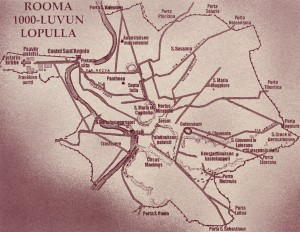 1000-lukua käsittelevissä romaaneissani kerron dystopiasta, jonka läntinen Eurooppa koki Rooman valtakunnan luhistumisen jälkeen. Vertauskuvaksi olen ottanut itse Rooman, miljoonakaupungin, joka tuhannessa vuodessa kutistui kirkonkyläksi ja nyt, tuhannen vuoden kuluttua, on jälleen miljoonakaupunki. Kartassa melkein keskellä sijaitsee Forum Romanum, jonka lähellä sijaitsi Furnien torni, Constanzia di Montecaldon koti Roomassa. Ylhäällä oikealla on Santa Susannan luostari, johon Ferro Furni toimitti Constanzian, jotta hänet näännytettäisiin nälkään.