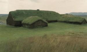 Tämänkaltaisessa turvekattoisessa talossa Geir Karhu ja hänen kaksoveljensä Ivar elivät lapsuutensa ja nuoruutensa maailman länsilaidalla Viinimaassa, nykyisessä Newfoundlandissa Kanadan itäosassa. Viinimaa on varhainen käännösvirhe. Viikingit eivät suinkaan kuvitelleen kasvattavansa viiniköynnöstä karuilla rannoilla. Vinland tarkoitti niittyä tai laidunmaata.
