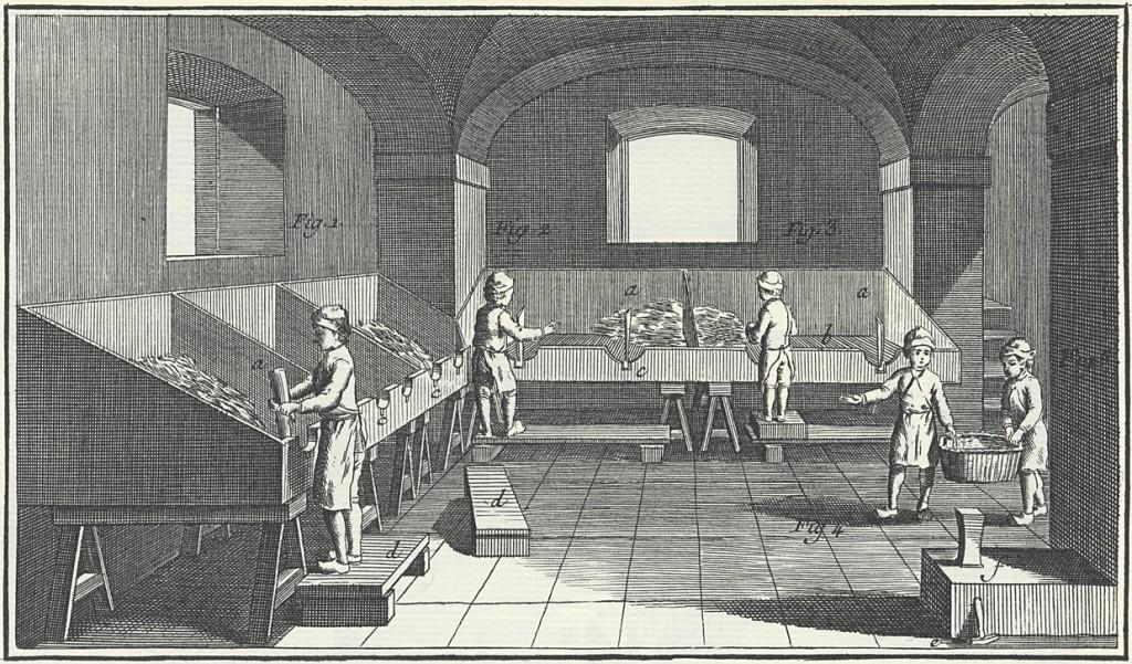 Paperinteko alkoi lumpun käsittelystä. Lumppu, eli käytetty kangastavara, lajiteltiin jopa kymmeniin laatikoihin. Parasta paperia saatiin pellavasta ja puuvillasta.