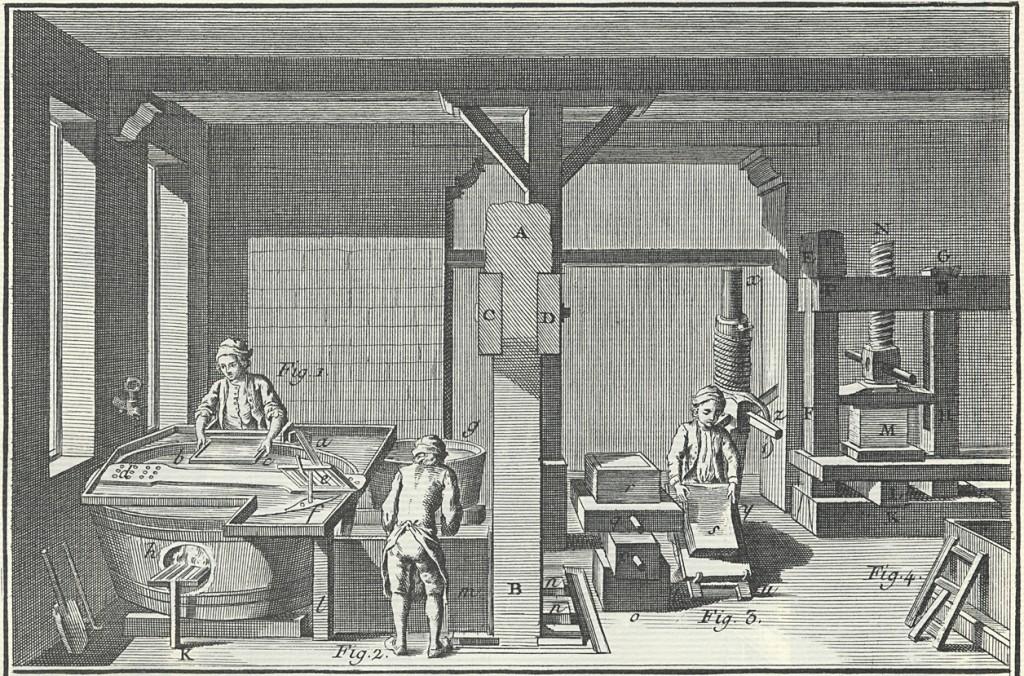 Kuvassa vasemmalla vatmanni nostaa kaavaimella arkin vatista, jonka sulppua tuli pitää lämpimänä. Vieressä huopauttaja latoo arkkeja ja apupoika kuljettaa niitä järeään prässiin, joka näkyy taustalla. Prässissä on puristettavana posti, n. 185 arkkia.